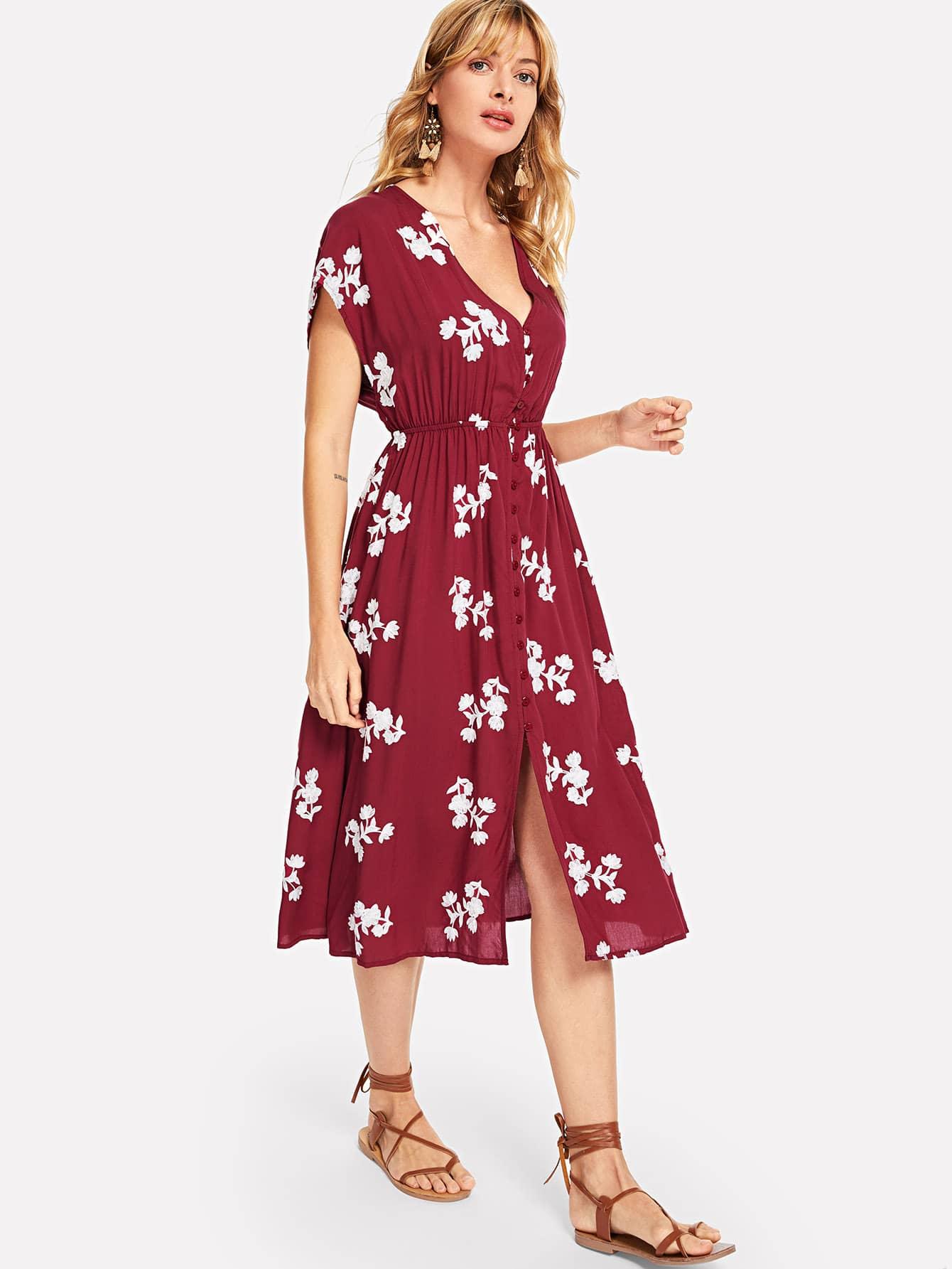 Купить Платье с вышивкой из флакона, Masha, SheIn