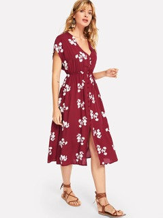 Button Front Flower Embroidered Shell Dress