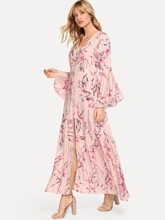 Button Up Bell Sleeve Floral Dress