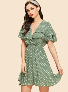 Tiered Ruffle Dot Print Wrap Dress