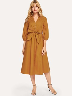 Bishop Sleeve Button Up Dress