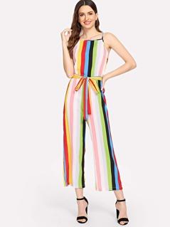 Colorful Striped Print Wide Leg Cami Jumpsuit