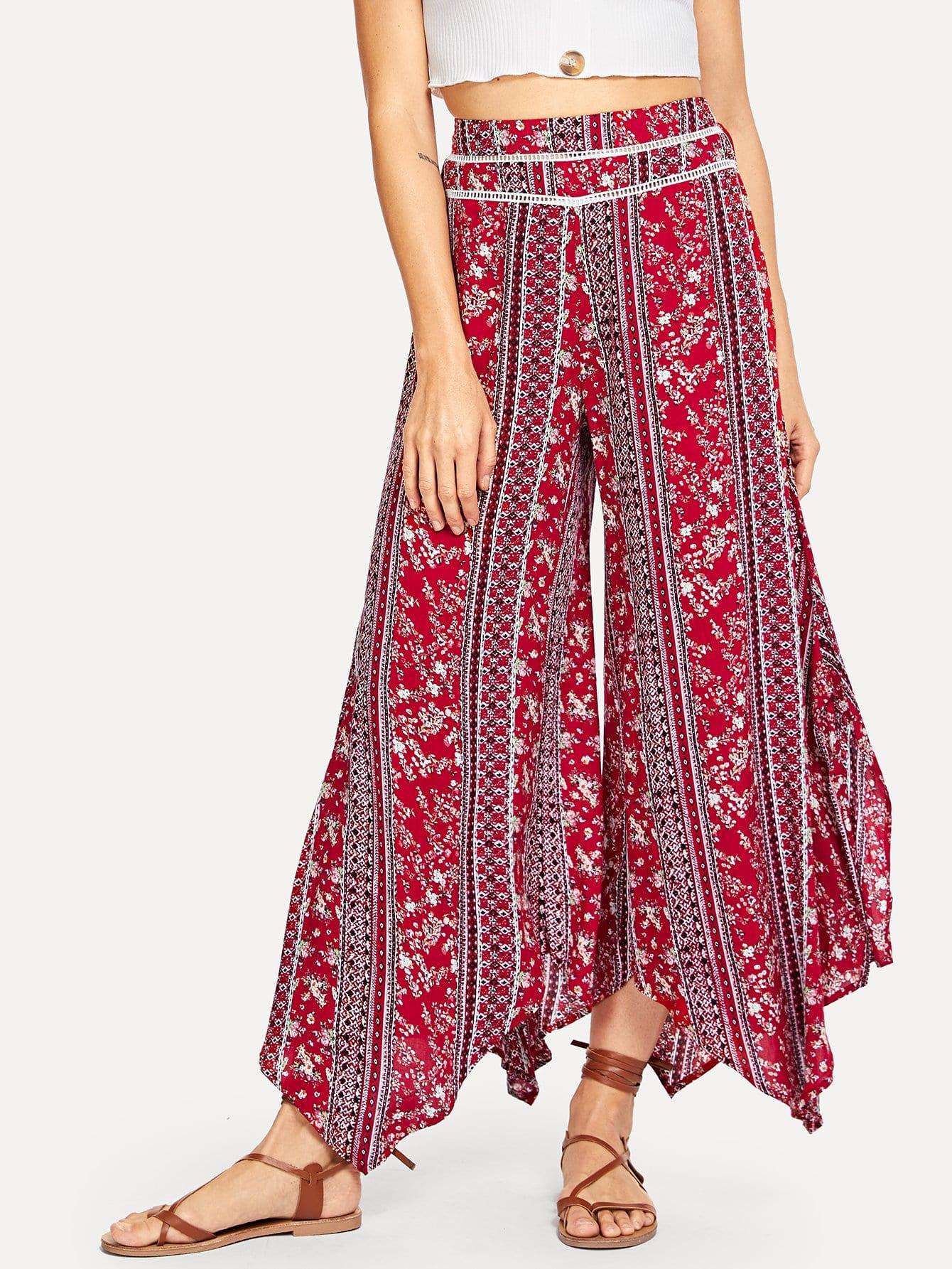 Купить Цветочная печать Полосатые широкие штаны для ног, Masha, SheIn