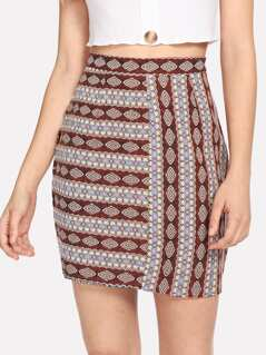 Geo Print Bodycon Skirt