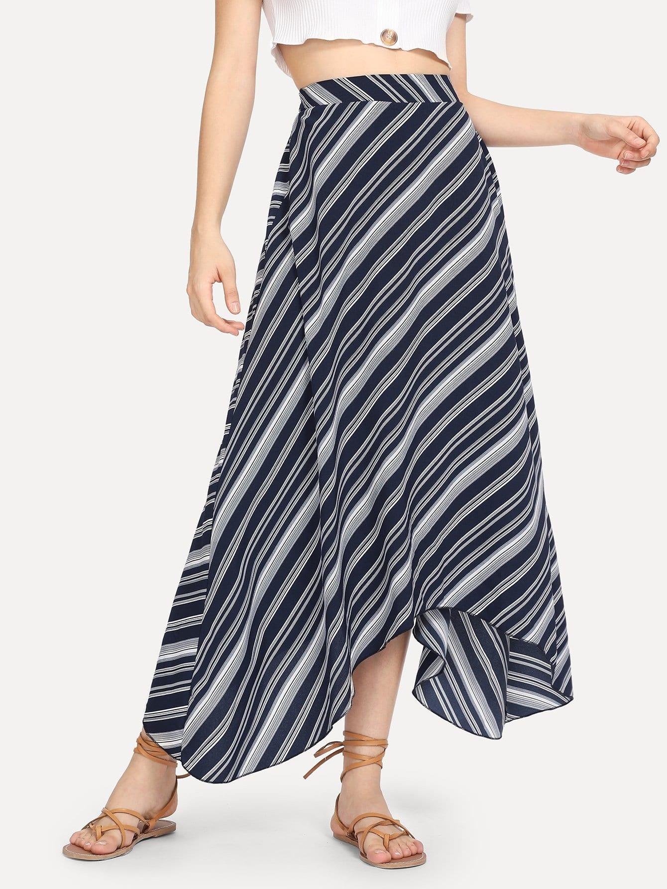 Купить Полосатая печать Dip Hem Flare Skirt, Jana, SheIn