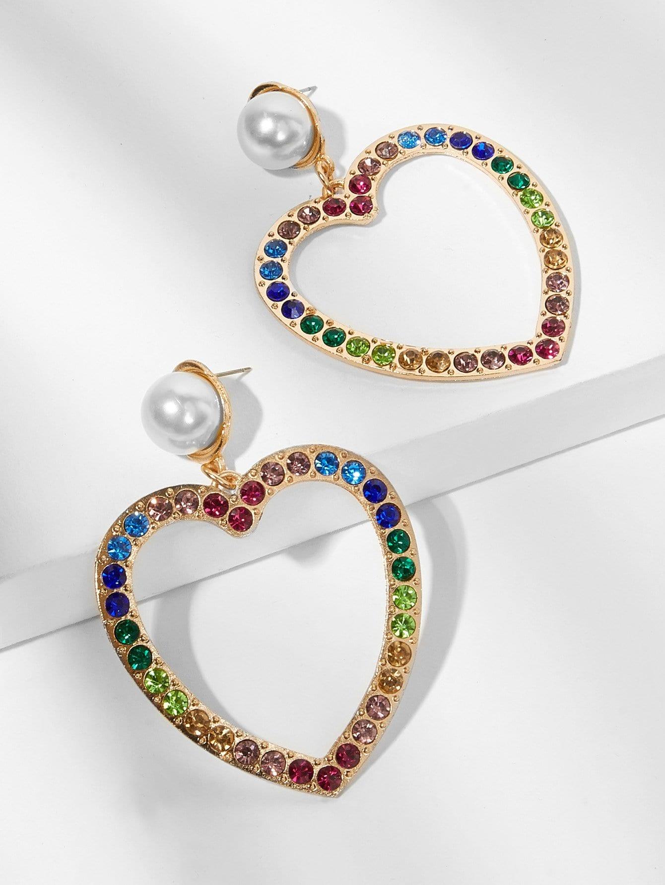 Gemstone Engraved Open Heart Drop Earrings