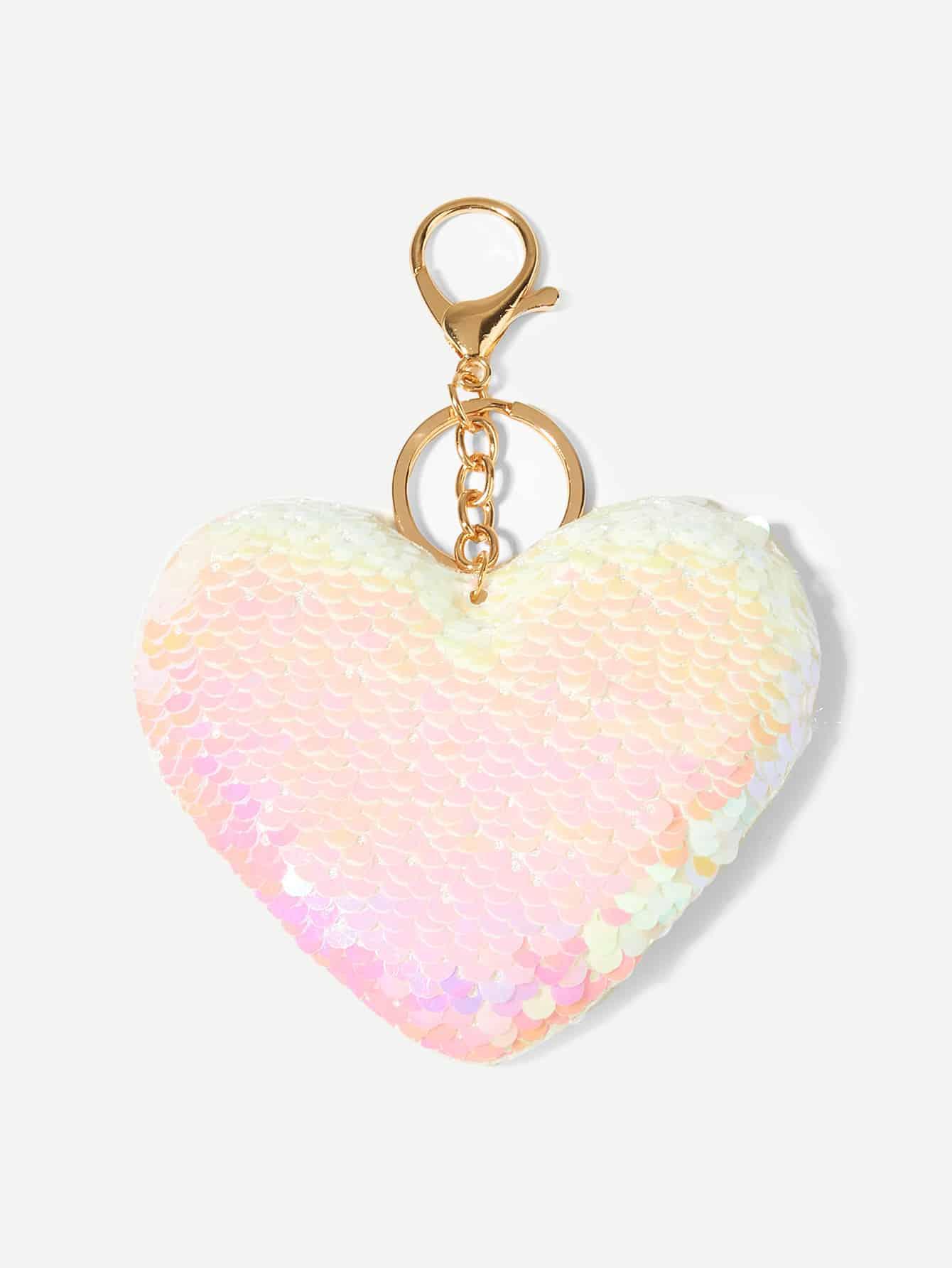 Купить Брелок для ключей с украшением сердца и пайетки, null, SheIn