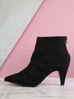Folded Detail Pointed Heeled Boots