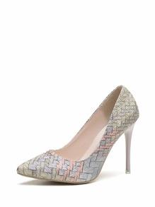 Woven Print Stiletto Heels