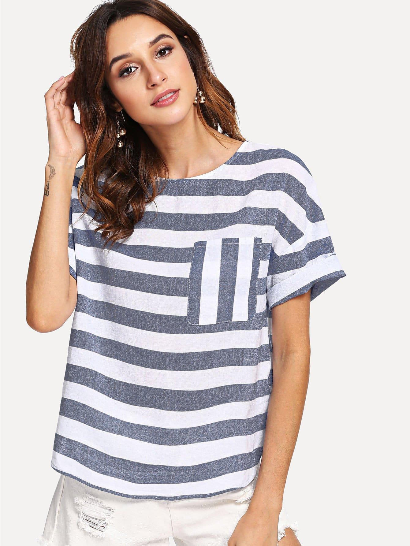 Купить Полосатая блузка с украшением кармана, Gabi B, SheIn