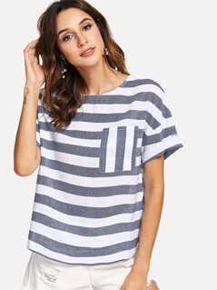 Pocket Front Striped Top