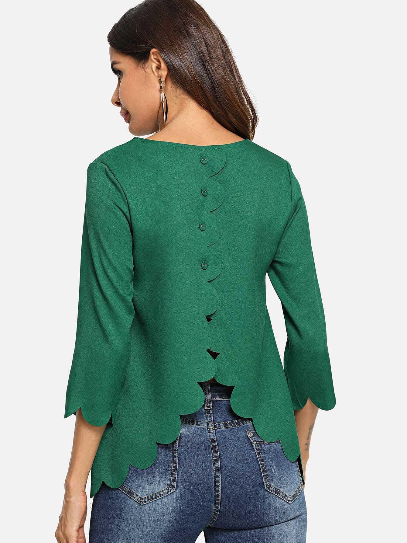 Накрахмаленная рубашка с украшением веерообразных оборк и пуговиц, Andy, SheIn  - купить со скидкой