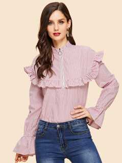 Ruffle Trim Zip Up Striped Blouse