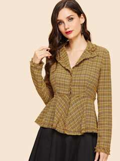Raw Hem Plaid Print Peplum Blouse