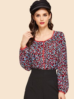 Mixed Print Square Neck Blouse