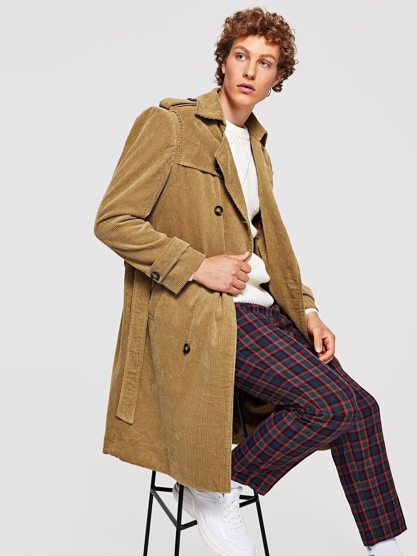 Купить Двубортное пальто с поясом для мужчины, Kristian, SheIn