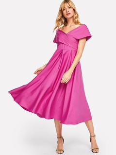 Neon Pink Box Pleated Cross Wrap Bardot Dress