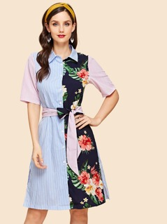Striped and Floral Print Belted Shirt Dress