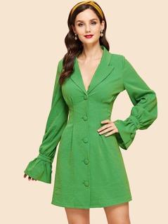 Button Up Collar Shirt Dress