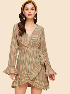 Ruffle Trim Belted Striped Wrap Dress