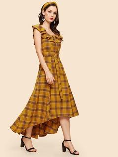 Ruffle Neckline Belted Plaid Dress