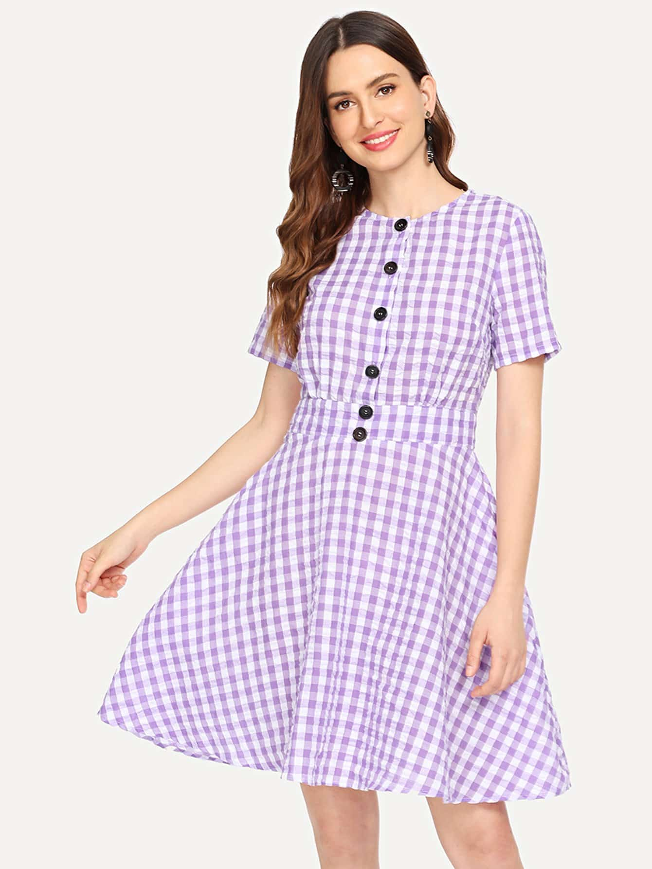 Button Front Fit and Flare Plaid Dress