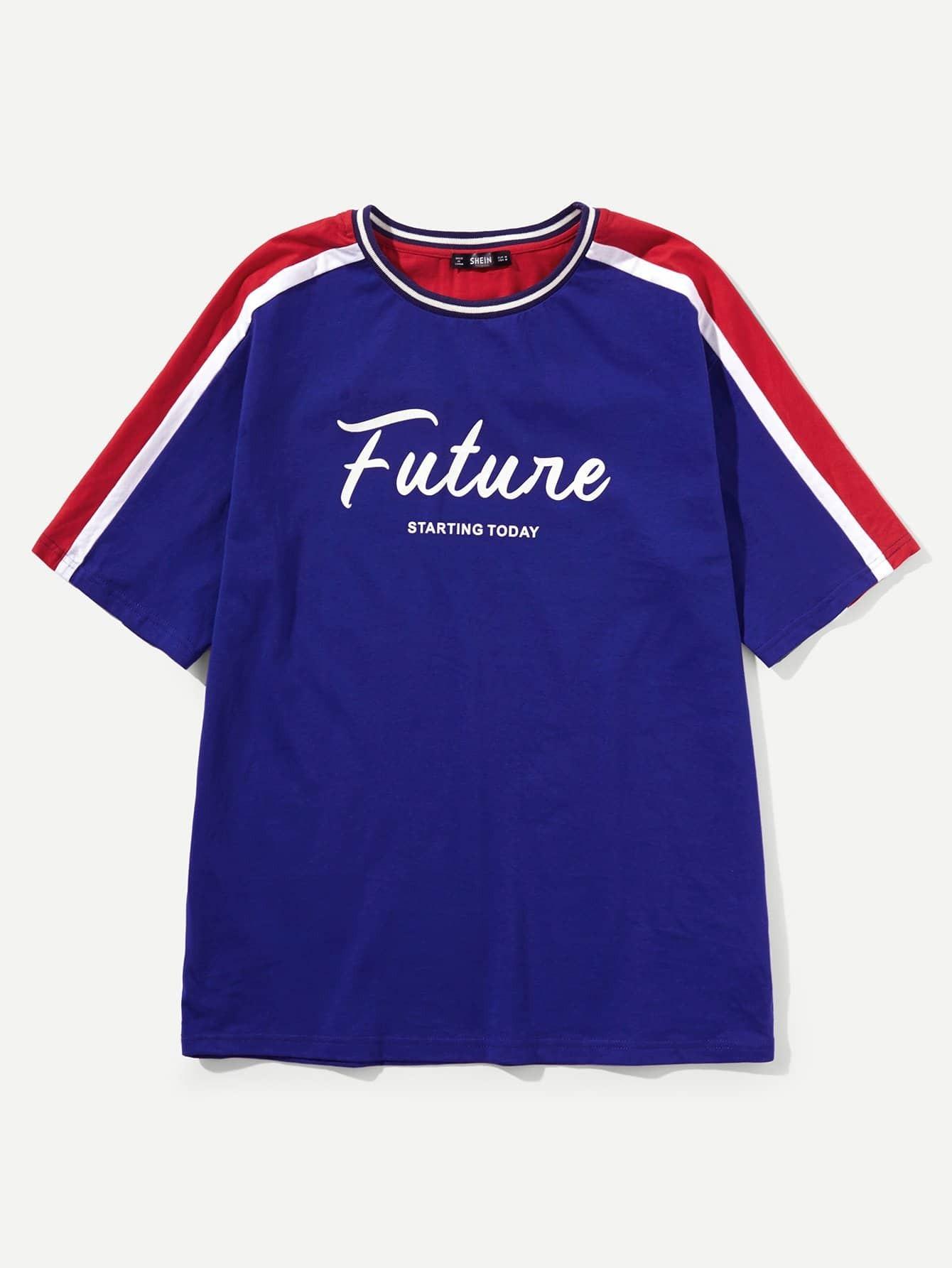 Купить Контрастная футболка с рисунками буквы для мужчины, null, SheIn