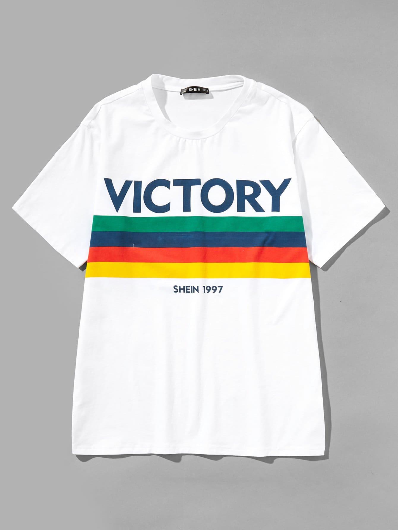 Купить Полосатая футболка с рисунками буквы для мужчины, null, SheIn