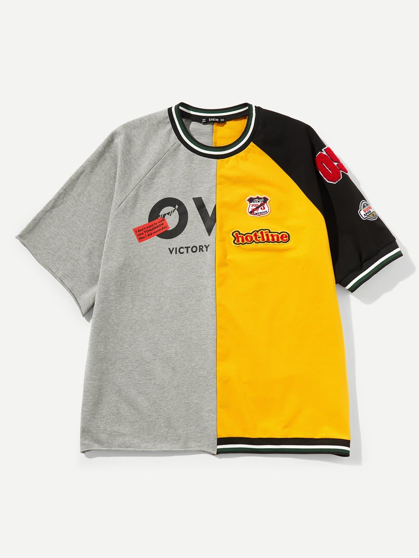 Купить Двухцветная футболка с рукав-регланами и с украшением заплаты для мужчины, null, SheIn