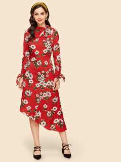 Floral Print Mock Tunic Dress