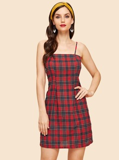 Plaid Print Slip Dress