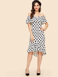 Polka Dot Print Ruffle Trim Dress
