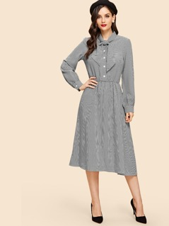 Button Front Tie Neck Shirt Dress