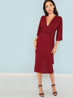 Deep V Neck Waist Belted Solid Dress