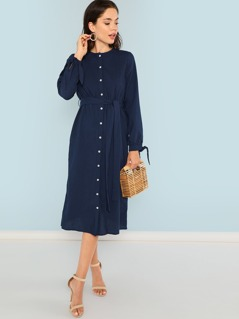 Knot Cuff Button Up Belted Dress