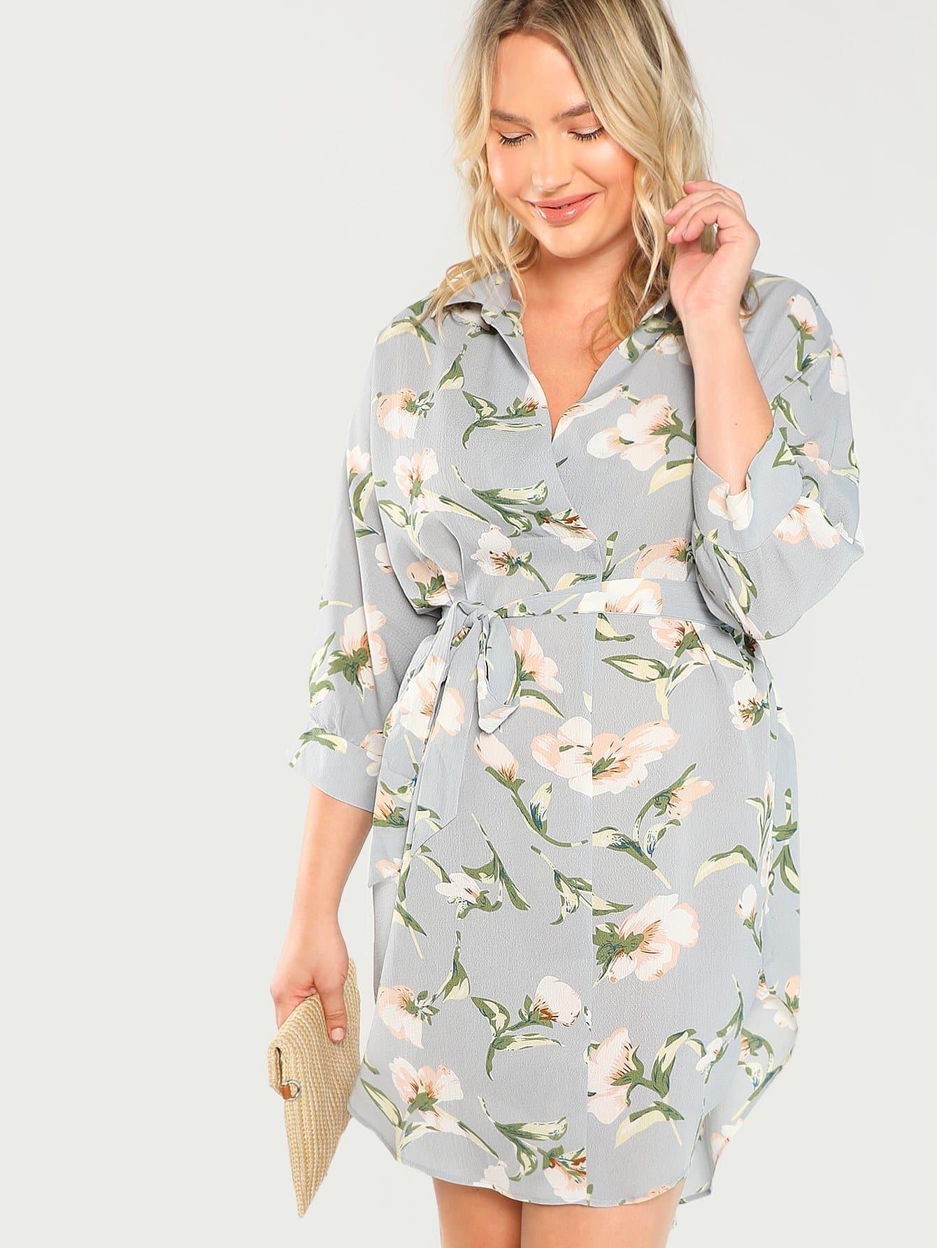 Купить Плюс круглая шея Curved Hem Floral Dress, Sydney Ness, SheIn