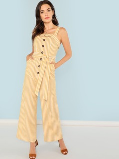 Foldover Button Front Belted Striped Jumpsuit