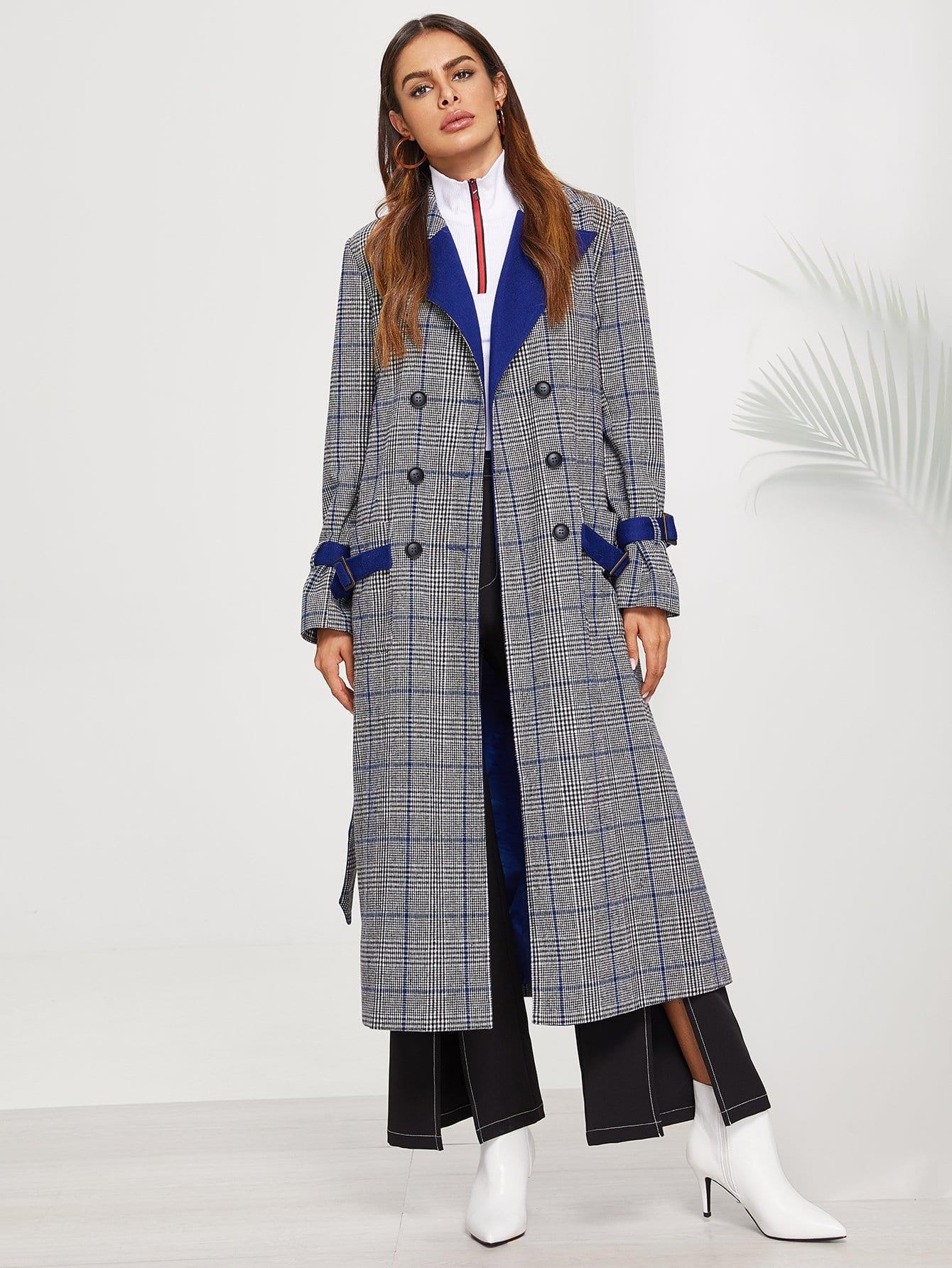Купить Двустворчатое пальто с длинным рукавом, Andy, SheIn