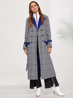 Notch Collar Double Breasted Plaid Longline Coat
