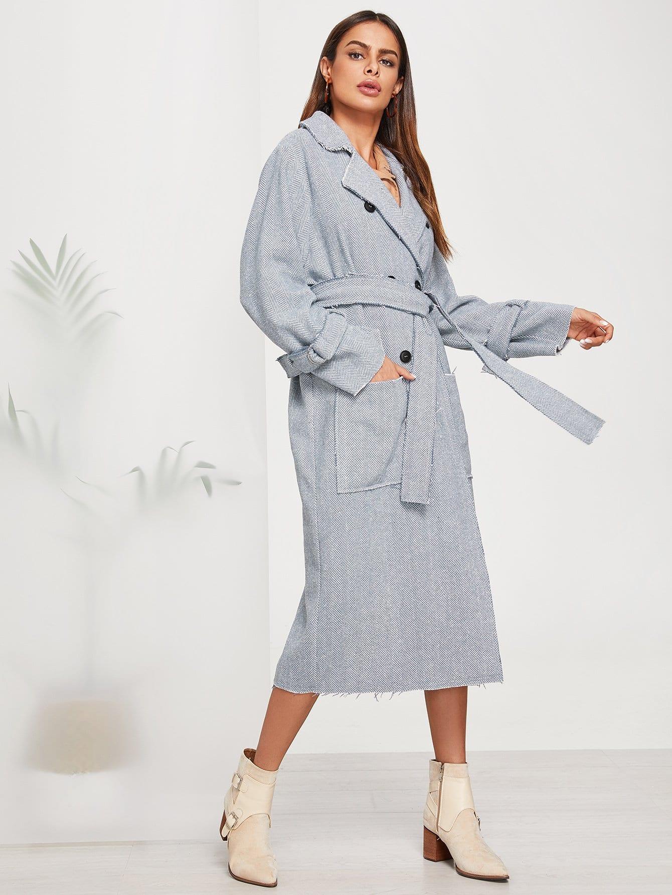Купить Обрезанное обрезное двойное грудное поясное ярусовое пальто, Andy, SheIn