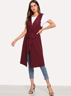 Bow Tie Waist Longline Belted Vest Coat