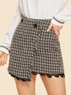 Contrast Lace Hem Button Front Wrap Skirt