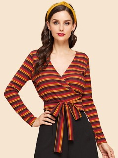 Striped Print Belted Wrap Tee
