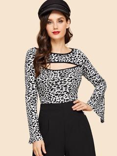 Cut Front Leopard Print Tee