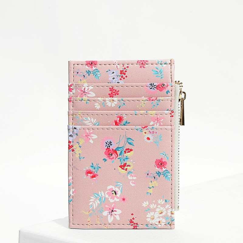 Flower Print Card Pouch, Pink
