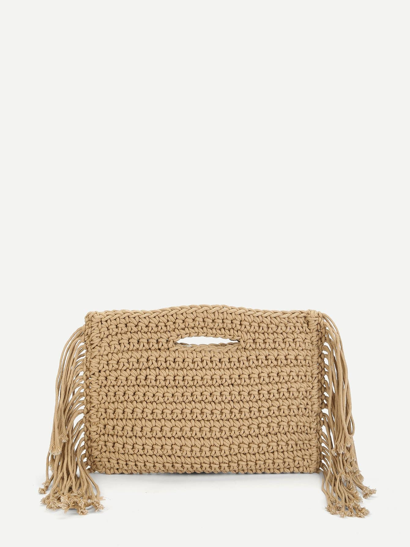 Tassel Trim Crochet Clutch