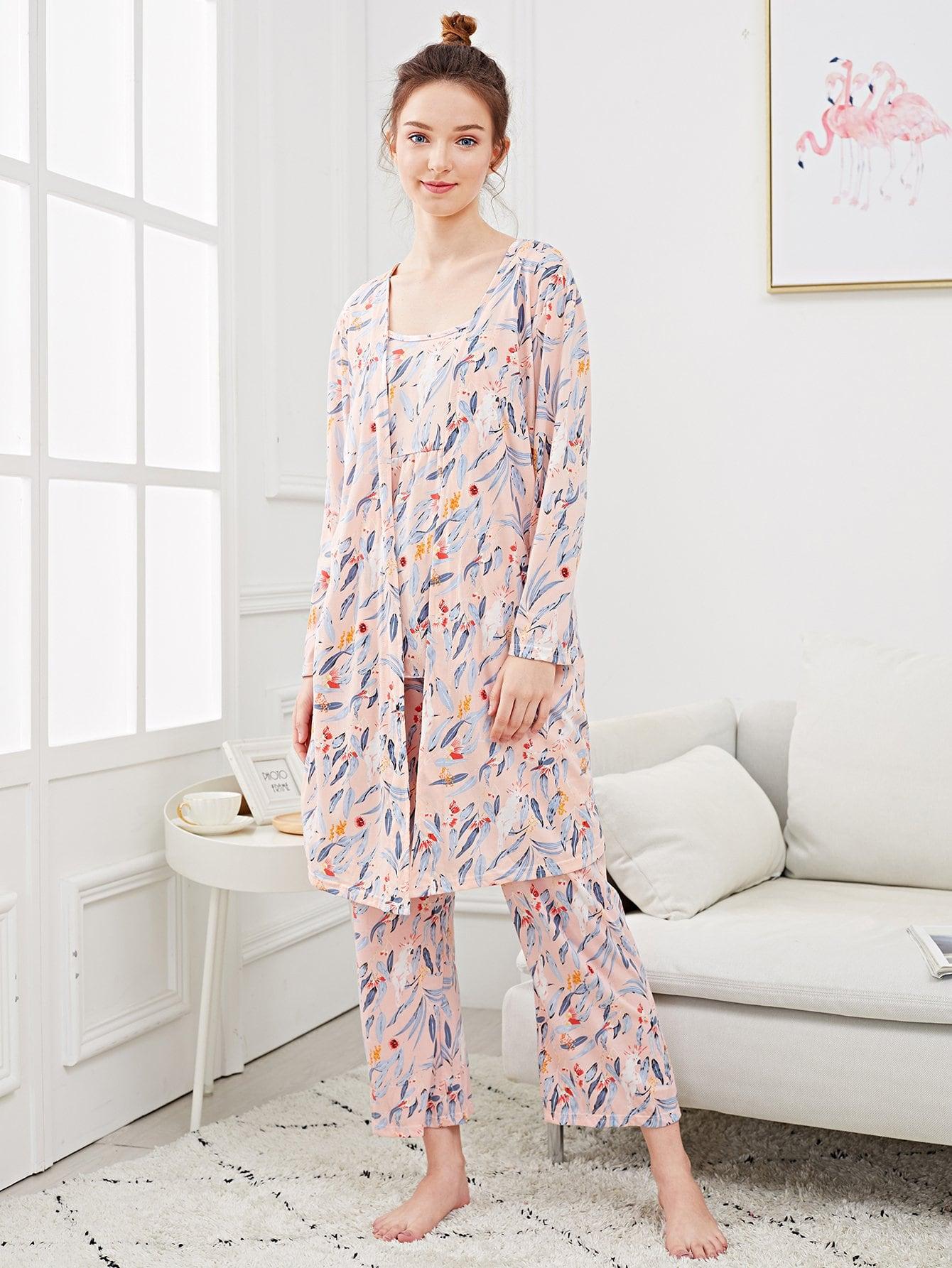Купить Комплект пижамы на бретелях и с рисунком попутая и домашний халат, Tory, SheIn