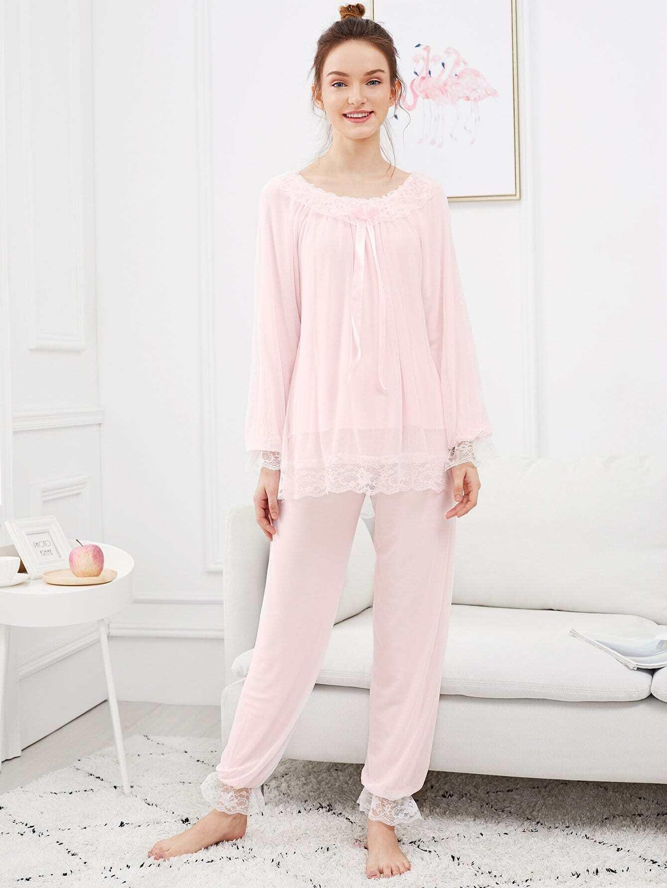 Contrast Lace Panel Mesh Pajama Set