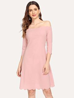 Off Shoulder Scallop Edge Dress