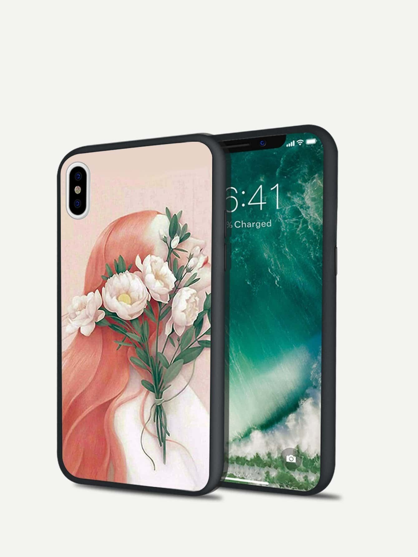 Flower & Girl Print iPhone Case
